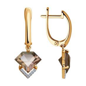 Серьги из золота с ситаллами и фианитами 725768 SOKOLOV
