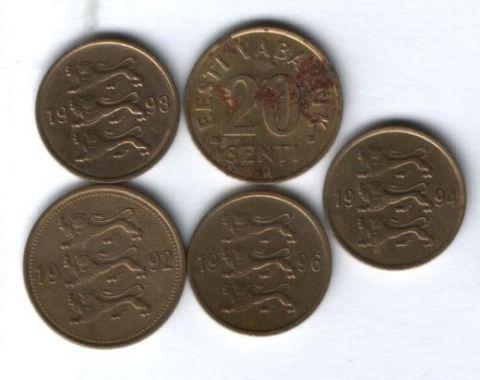 Набор монет Эстония 1992-1998 гг. 5 шт.