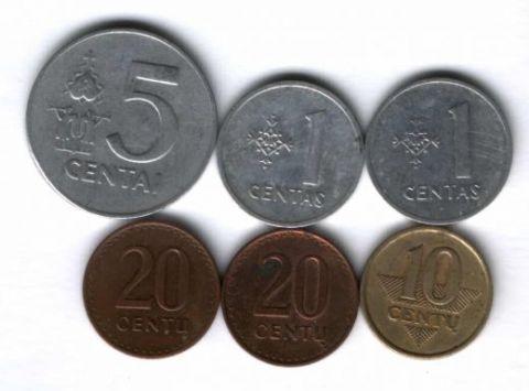 Набор монет Литва 1991-1999 гг. 6 шт.