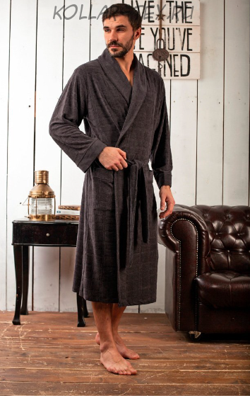 Облегченный бамбуковый мужской халат Alan антрацит, Five Wien