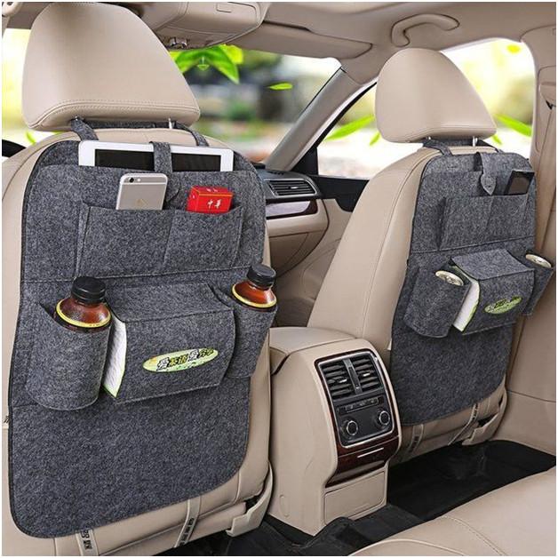 Органайзер для спинки сиденья авто Vehicle Mounted Storage Bag, Цвет-светло-серый