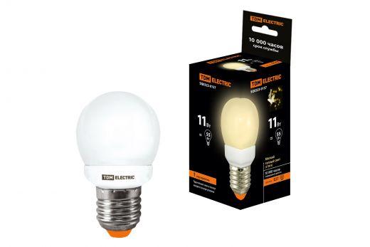 Лампа энергосберегающая КЛЛ-G45-11 Вт-2700 К–Е27 TDM