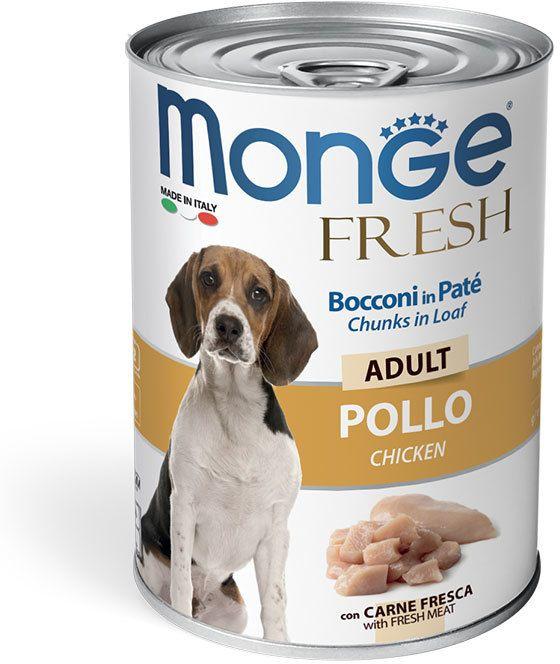 Monge Dog Fresh Chunks in Loaf консервы для собак мясной рулет курица 400 гр.