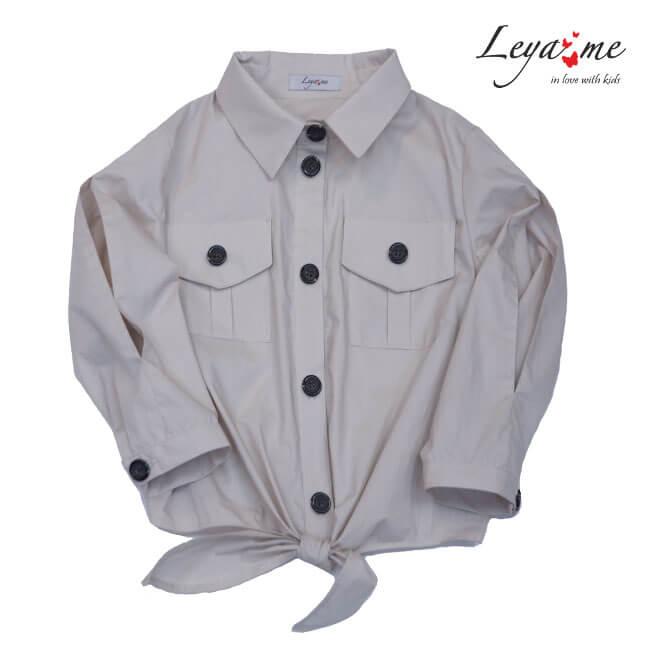 Рубашка с разрезами на рукавах и завязкой спереди