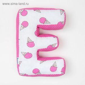 "Мягкая буква подушка ""Е"" 35х25 см, розовый, 100% хлопок, холлофайбер   3293888"