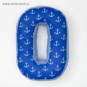 "Мягкая буква подушка ""О"" 35х24 см, синий, 100% хлопок, холлофайбер   3293895"