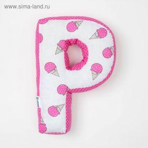 "Мягкая буква подушка ""Р"" 35х25 см, розовый, 100% хлопок, холлофайбер   3293891"