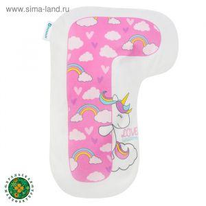 """Подушка """"Крошка Я"""" Г, 41х28 см, розовый,  велюр, 100% п/э   4125420"""