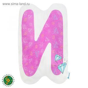 """Подушка """"Крошка Я"""" И, 40х37 см, фиолетовый, велюр, 100% п/э   4125418"""
