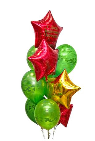 Букет гелиевых шаров №37 звезды 4 шт. + миллитари 6 шт