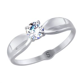 Кольцо из белого золота со Swarovski Zirconia 81010389 SOKOLOV