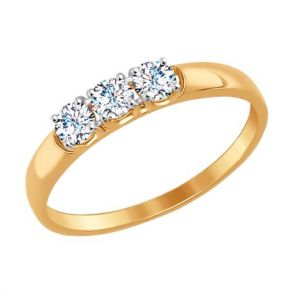 Кольцо из золота со Swarovski Zirconia 81010283 SOKOLOV