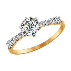 Помолвочное кольцо из золота со Swarovski Zirconia 81010240 SOKOLOV