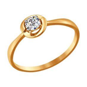 Помолвочное кольцо из золота со Swarovski Zirconia 81010199 SOKOLOV