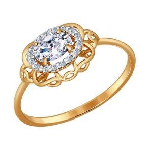 Кольцо из золота со swarovski zirconia 81010117 SOKOLOV