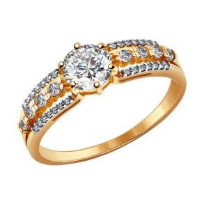 Кольцо из золота со swarovski zirconia 81010093 SOKOLOV