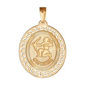 Подвеска знак зодиака из золота с алмазной гранью «Стрелец» 032760 SOKOLOV