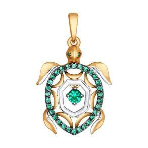 Подвеска из золота «Черепаха» с зелеными фианитами 035086 SOKOLOV