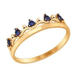 Кольцо «Корона» с синими фианитами 017547 SOKOLOV