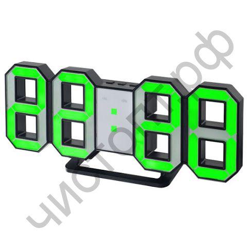 """Часы  эл. сетев. Perfeo LED """"LUMINOUS"""", будильн., настол/настен. , черный корпус / зелёная подсветка питан. USB  (PF-5198) (5В)"""