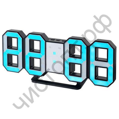 "Часы  эл. сетев. Perfeo LED ""LUMINOUS"", будильн., настол/настен. , черный корпус / синяя подсветка питан. USB  (PF-5199) (5В)"