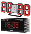 """Часы  эл. сетев. Perfeo LED """"LUMINOUS"""", будильн., настол/настен. ,черный корпус /красная подсветка питан. USB  (PF-5197) (5В)"""