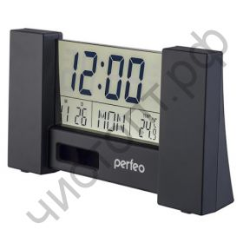 """Часы -будильник настол. Perfeo """"Сity"""", чёрный, (PF-S2056) пит. солнеч. бат. и 2032, время, температура, дата"""