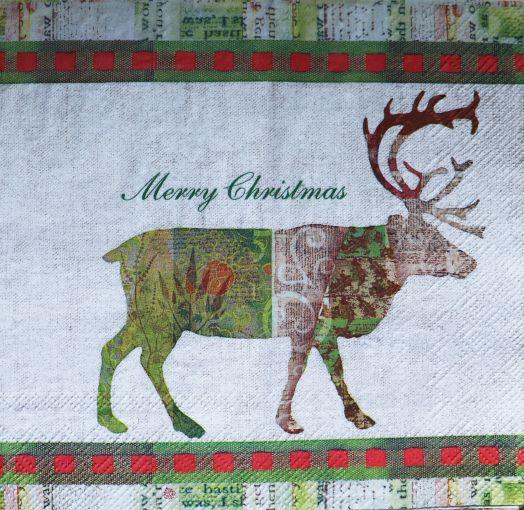 Салфетка бумажная 30*30 Рождественский олень