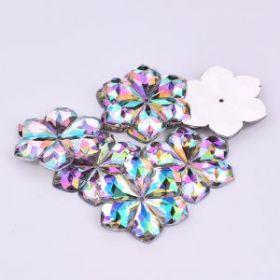 Камни пришивные цветок, цвет неон 40 шт упак