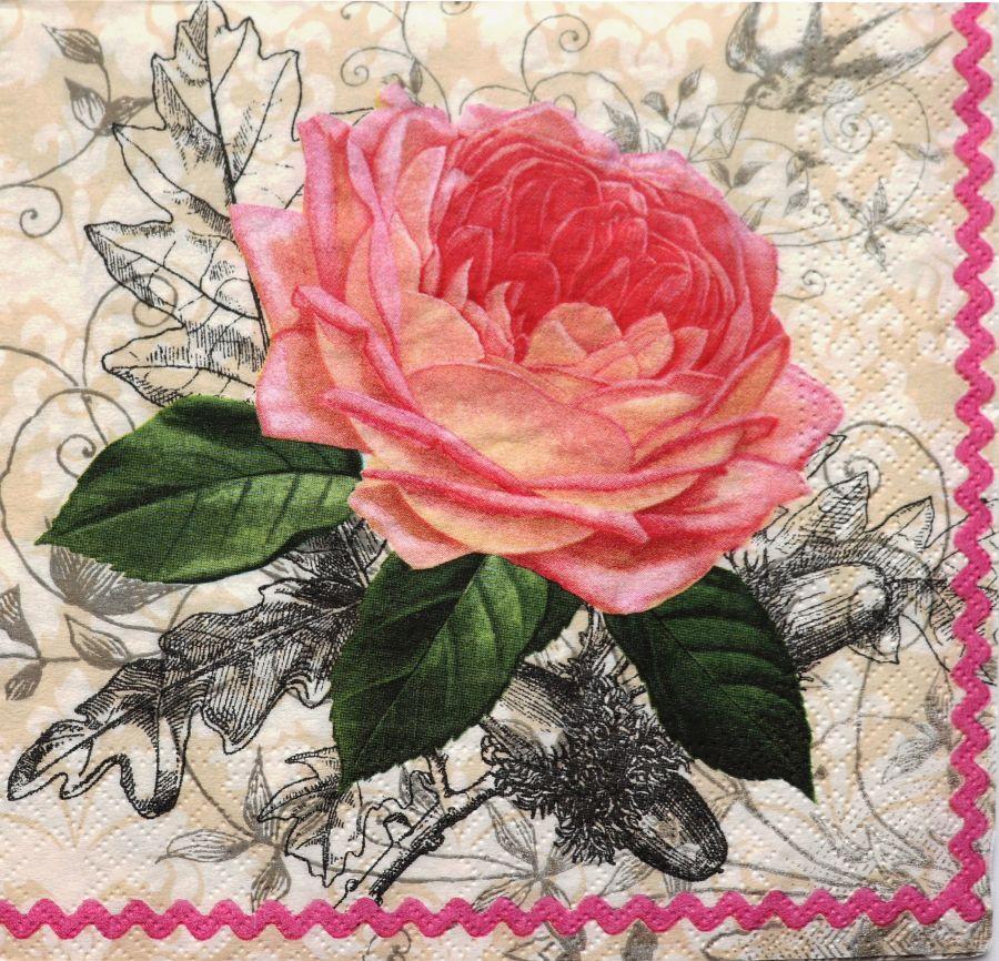 Салфетка бумажная 30*30 Чайная роза