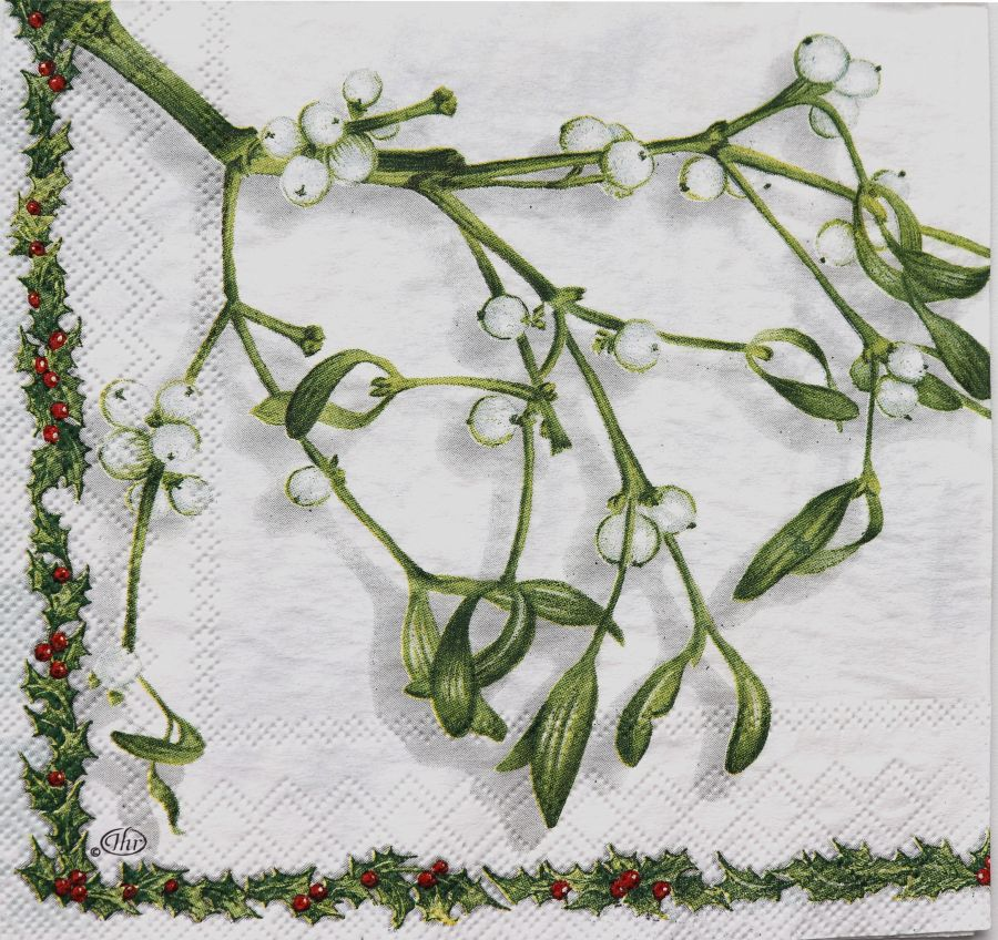 Салфетка бумажная 30*30 Веточка омелы