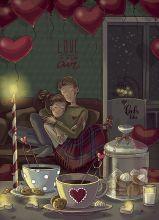 Почтовая открытка День влюбленных