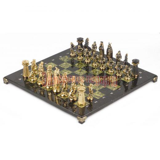 """Шахматы """"Викинги"""" бронза змеевик 400х400 мм"""