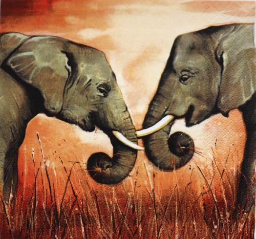 Салфетка бумажная 30*30 Слоны