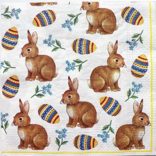 Салфетка бумажная 30*30 Пасхальный кролик