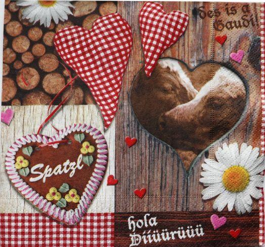 Салфетка бумажная 30*30 Любовь