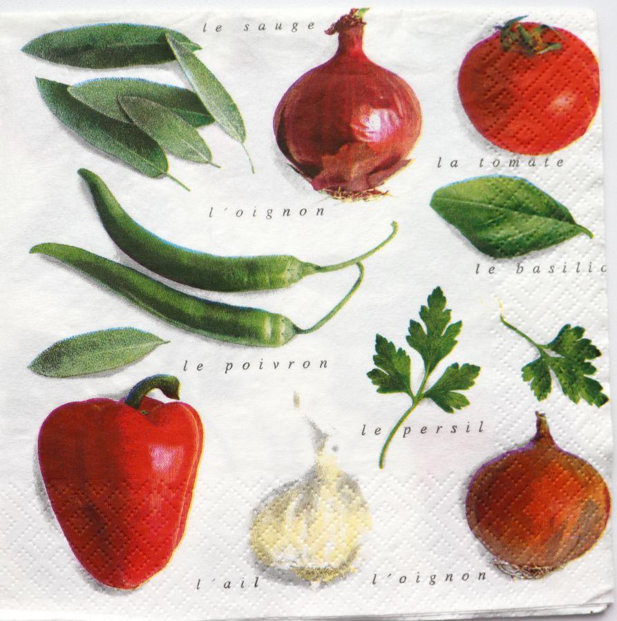 Салфетка бумажная 30*30 Овощи и специи