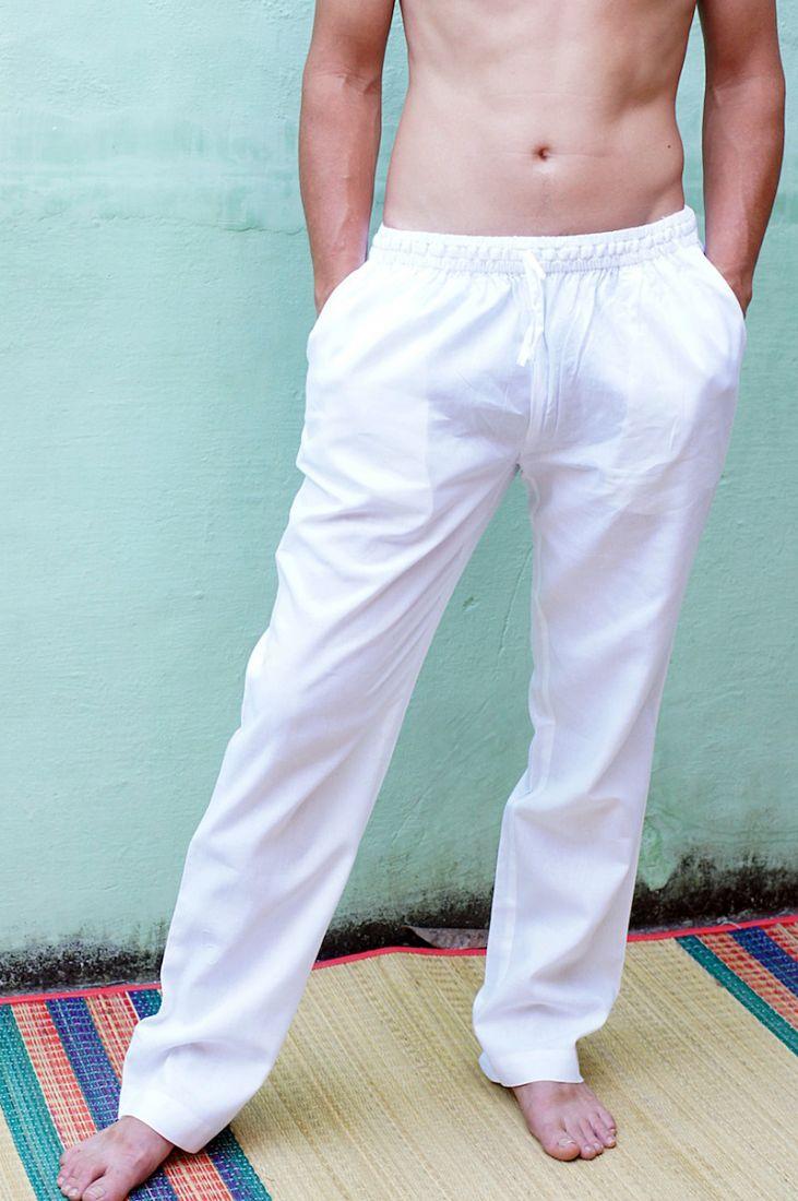 Белые мужские штаны из 100% хлопка на заказ (отправка из Индии)