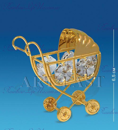 """Фигурка детская коляска с камнями """"Swarovski"""""""