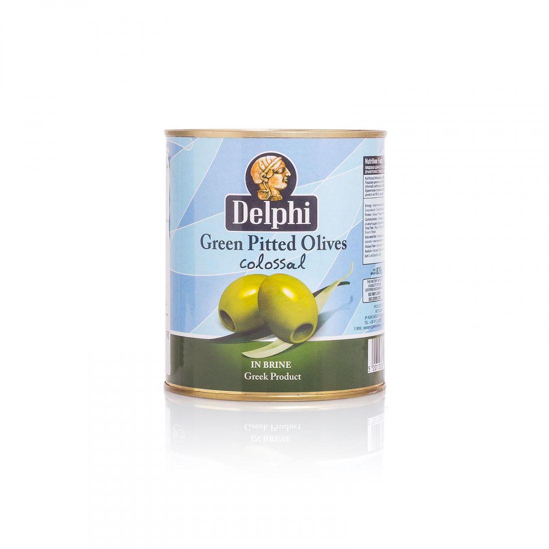 Оливки зеленые Delphi - 820 гр с косточкой в рассоле, жесть