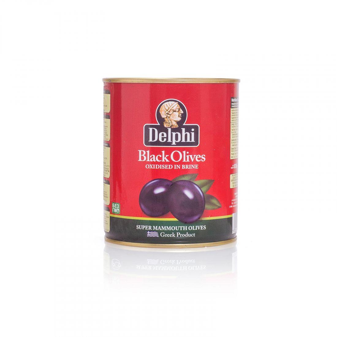 Маслины черные Delphi - 820 гр с косточкой в рассоле, жесть