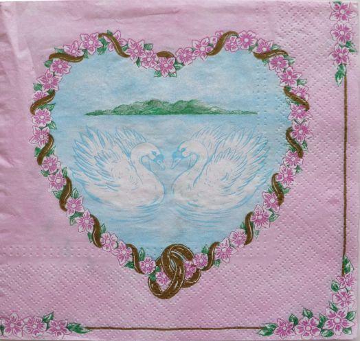 Салфетка бумажная 30*30 Лебединая любовь