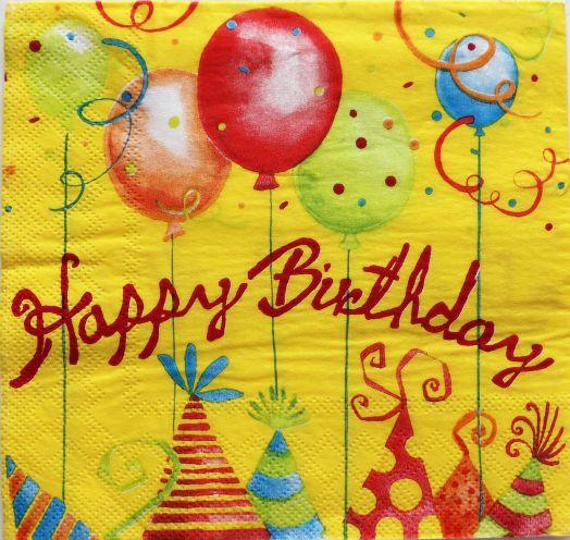 Салфетка бумажная 30*30 Happy birthday