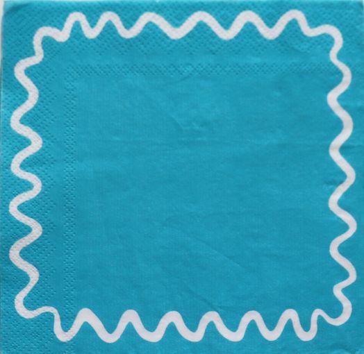 Салфетка бумажная 30*30 Зиг-заг на голубом