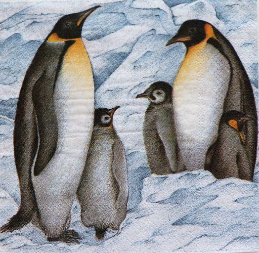 Салфетка бумажная 30*30 Пингвины