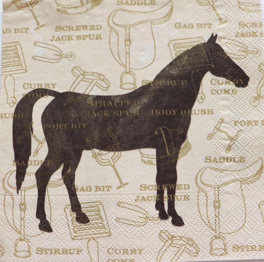 Салфетка бумажная 30*30 Лошадь силуэт