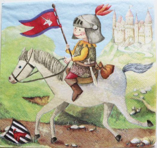 Салфетка бумажная 30*30 Рыцарь на коне