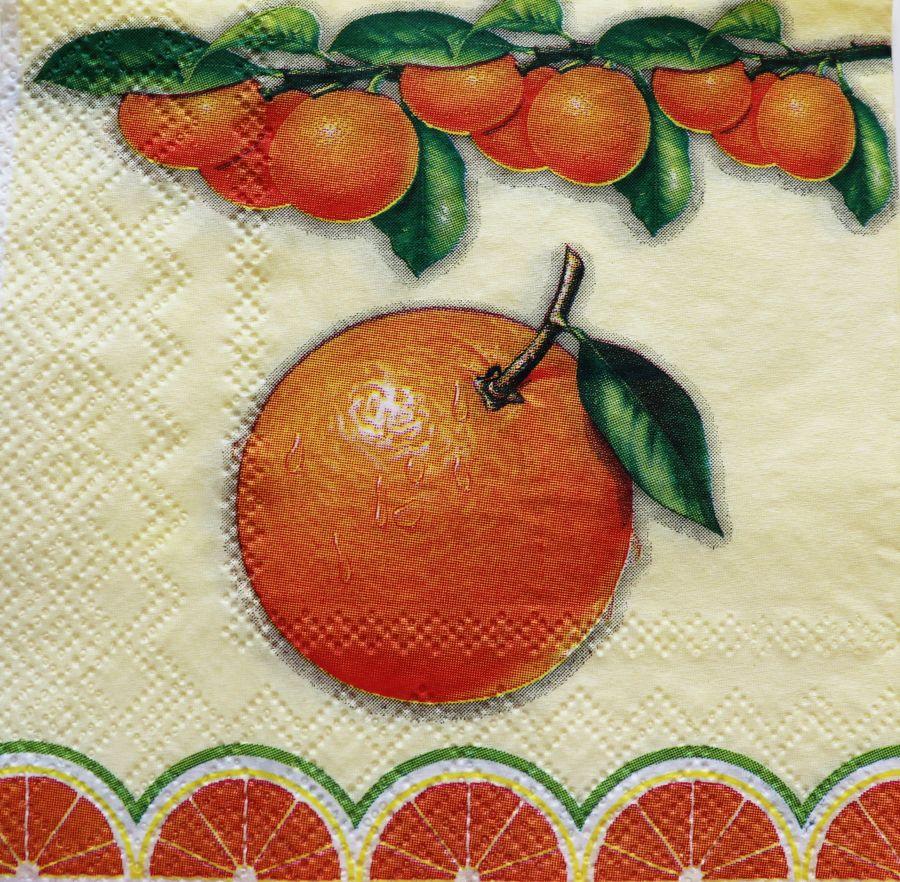 Салфетка бумажная 25*25 Апельсины