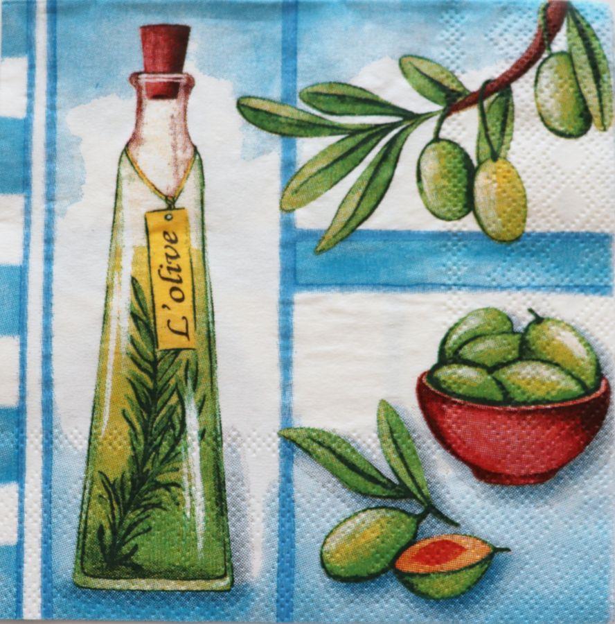 Салфетка бумажная 25*25 Масло и оливки