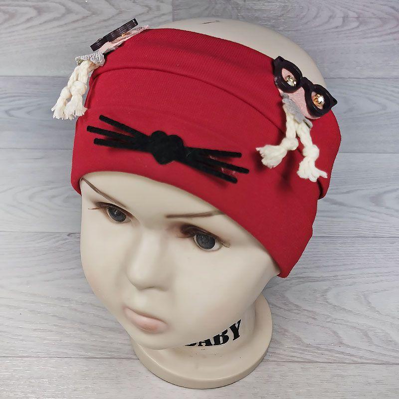 п1049-23 Повязка трикотажная с отворотами Совы в очках бархатные усики красная